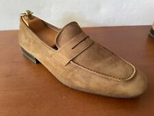 Pre Owned Salvatore Ferragamo Brown Suede Penny Loafers 9.5EE