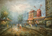 "Oil Painting of Cityscape European City People Street Windmill 24x36"" Free Frame"