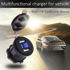 Car RV 12V 24V Off-road Dual USB Charger Voltmeter Round Volt Gauge Blue led