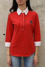 Henry COTTON'S Donna 3/4 Maniche Lunghe Rosso Polo T-shirt Maglione Top Stretch 48 L Large