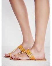 Free People Bora Bora Wos Sandals Flats EU 38 US 8 Yellow Striped Leather NEW