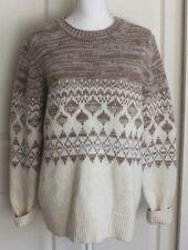 Banana Republic Wool Alpaca Cream Brown Geometric Nordic Heavy Knit Sweater XL