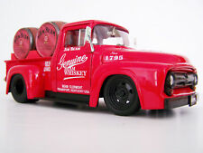 1956 Red Ford F100 Jim Beam Custom Graphics Diecast Pickup + 2 Barrels