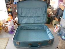 Vintage Light Blue Hard Shell Suitcase Luggage Mid Century Medium