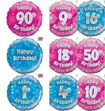 """Milestone Birthday Ages Holographic 18"""" Helium Foil Balloon Pink Blue Decoration"""