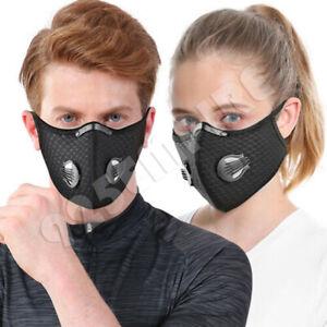Men Women's Black Face Mask With Valves Filter Reusable Breathing Active Carbon