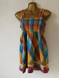 Cami Top New Look 12 Multi Squares Wide Straps Cotton Shirred Summer holiday