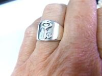 Retired James Avery Vintage Wide Tapering Band Ring with Key Sterling Silver