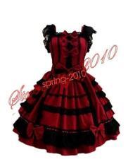 New Ladies Sweet Lace Cotton Chiffon Layered Cosplay Lolita Girls Dress Costume