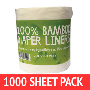 Bamboo Nappy Liners insert Biodegradable Anti-Bacterial 5 Rolls = 1000 sheets]