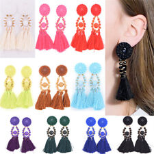 Fashion Bohemian Earrings Women Long Tassel Fringe Boho Dangle Earrings TK