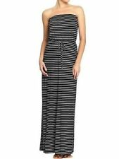 NEW OLD NAVY BLACK STRIPED DRAWSTRING TUBE JERSEY MAXI DRESS SZ XL EXTRA LARGE