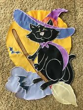 "Yard & Garden Flag 12"" x 18"" Black Cat Witches Hat Broomstick Bats Halloween"