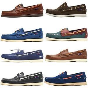 Sebago Docksides NBK Suede Boat Deck Shoes in Navy Blue & Coral & Dark Brown