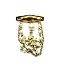 Vintage 1980's Costume Gold Tone Faux Pearl Cupid Pendant Pin Brooch