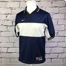 VINTAGE NIKE Team Blu Navy Bianco Nero Piccolo POLO SPORTS Football Top S