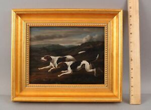 19thC Small Antique SAMUEL RAVEN Oil Painting American Foxhound Hunting Dogs NR