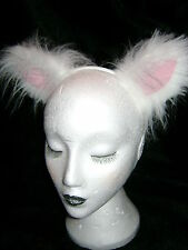 White Cat Ears With Pink Inners Fancy Dress Luxury Faux Fur Costume Ears