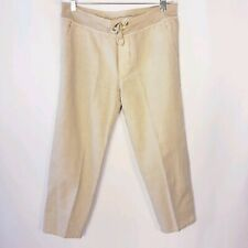 James Perse Standard Women's Sz 2 Cropped Tapered Pants Cotton Flax Blend Gray.