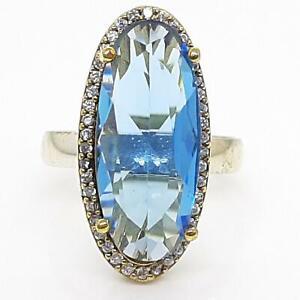 Deco 10.70ctw Topaz & Diamond Cut White Sapphire 14K Yellow Gold Silver Ring