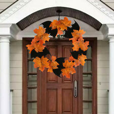 Halloween Decor Bat Wreath Pendant Window Door Hanging Maple Leaf Wreath Cloth