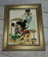 Disney MICKEY MOUSE SELF PORTRAIT OOAK 3-D Picture Print Charles Boyer WALT Rare