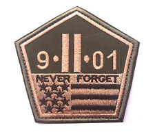 9-11-01 NEVER FORGET Morale Patch Us Military Tactical Hook & Loop Badge Patch