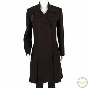 Hermes Paris Wine 93% Cashmere Leather Details Pleated Dbl Breast Coat 40FR/8US