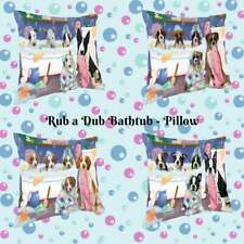 Rub A Dub Dogs Cats in a Tub Throw Pillow, Pet Photo Lovers Decorative Pillow