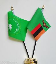 Zambia & African Union Double Friendship Table Flag Set
