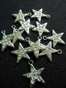 sew on Star with loop silver metal with tiny Diamante kids dress trimmings
