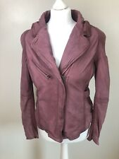 Muubaa Size 14 Burgundy Merlot Leather Biker Jacket Genuine Lamb Leather Aged