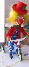 Clown Su Triciclo in panno e stoffa con cordino da trainare anni 70 SPESE GRATIS