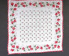 Vintage Red Roses Handkerchief Scalloped Hem Rose Buds Hanky Hankie EUC