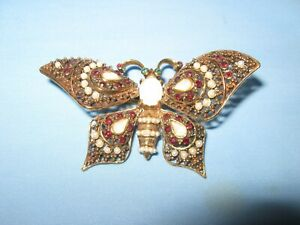 PAULINE RADER Original Enamel Moonstone? Butterfly Pin With Movable Wings Signed