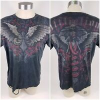 Affliction Black T-Shirt Angel Wings Cross Skull Distressed Mens Size L