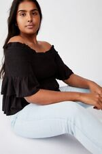 Cotton On Womens Curve Daisy Off The Shoulder Peplum Top Curve  In  Black