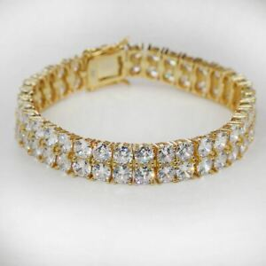 """10mm Thick Two Row Tennis Bracelet Gold Over Solid 925 Silver 6-9"""" 5mm Diamonds"""