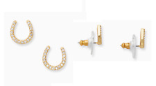 Horseshoe Stud Earrings New Tags Authentic Kate Spade Gold Wild Ones Pave