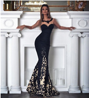 Womens Black Bodycon Formal Evening Party Ball Prom Gown Cocktail Mermaid Dress