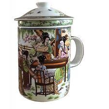PORCELLANA CINESE Tè Tazza con infusore e coperchio-giardino modello Donna