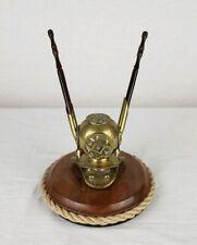 Vintage Brass Diving Helmet Pen Desk Set Original Pens