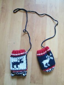 Knitted Mittens on a String  (Gloves)