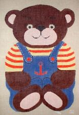 Nautical Teddy Bear Handpainted HP Needlepoint Canvas