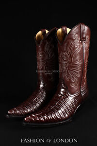 Men's GRINDERS CAROLINA Brown Crocodile Cowboy Western Leather Croc Calf Boots
