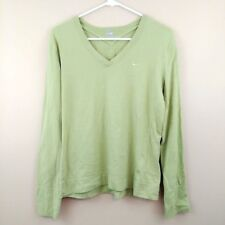 Nike Long Sleeve Shirt Green V Neck Athletic Top 157693-383 WOMENS SIZE XL