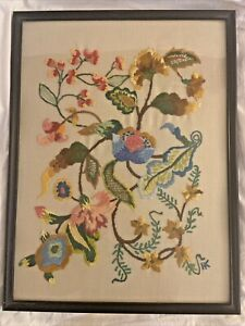 Vintage Large Hand Embroidered Jacobean Crewel Work Finished Framed #2