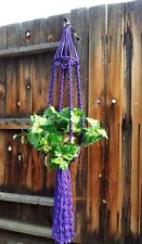 "Large Macrame Plant Hanger~Rich Jewel Tone Purple~Bird Cage Top~54"" Solid Twist"