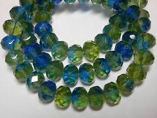 25 8x6mm Dark Sapphire Blue and Olivine Green Czech Fire polished Rondelle beads