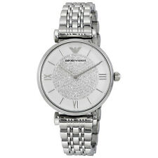 Armani White Crystal Pave Dial Stainless Steel Ladies Watch AR1925